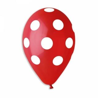Балон червен на бели точки, диаметър 30 см, 5 бр. в пакет