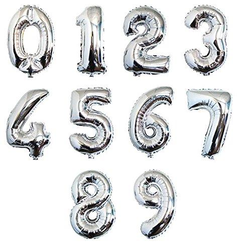 Фолиев балон мини цифра  0-9 цвят сребро - 13 см височина