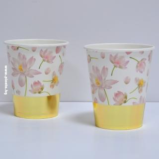 Хартиена чашка Цветя със злато премиум