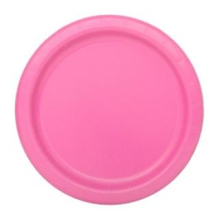 Хартиена парти чинийка розова, 18 см
