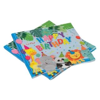 Парти салфетки Сафари, животни, джунгла, 12 бр в пакет