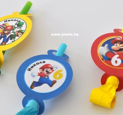 Персонализирана парти свирка Супер Марио, 5 бр. пакет