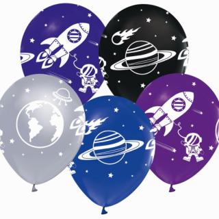 Комплект 5 бр. премиум балони Космос, ракета, планети / Kosmos, микс цветов  /Gd/