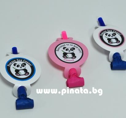 Персонализирана парти свирка Панда / Party Whistle Panda
