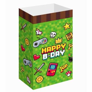 Подаръчни хартиени торбички Геймърски рожден ден Майнкрафт / Game on 6 бр. в опаковка 25х13 см.