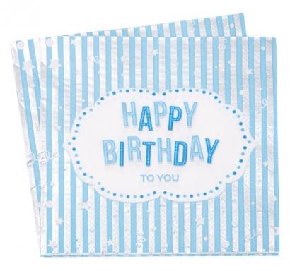 Парти салфетки Рожден Ден / Happy Birthday сини със сребро, 12 бр. в пакет