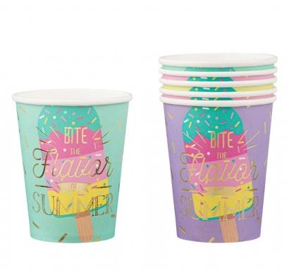 Хартиена парти чашка Сладолед, 6бр. в пакет различни цветове и златен блестящ надпис