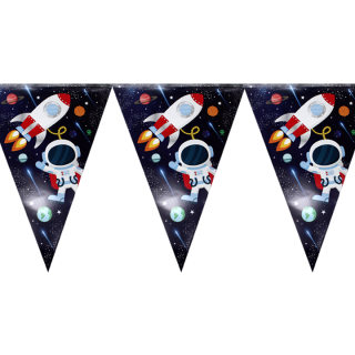 Банер гирлянд за декорация Космос, 11 флагчета, 3,20 м дължина
