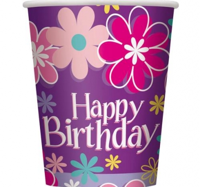 Хартиена парти чашка  Рожден Ден Цветя 250 мл, Birthday Blossoms