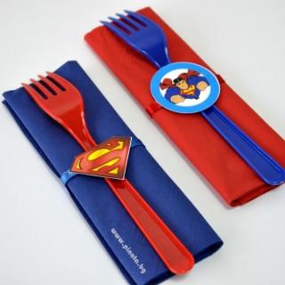 Парти комплект салфетка и виличка Супермен 33х33 см