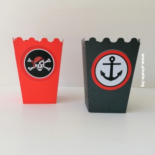 Персонализирана кутийка за пуканки Пират Пиратско парти