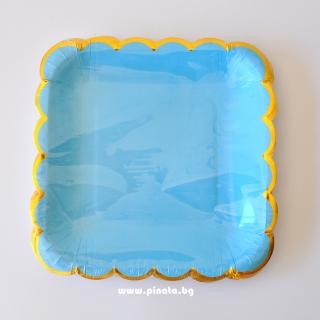 Хартиена парти чинийка светло синя със златен кант, 23х23см 10 бр. в опаковка