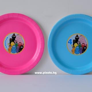 Персонализирана хартиена парти чинийка Барбарони, 5бр. пакет