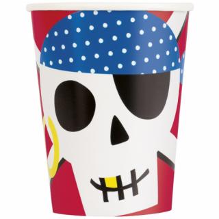 Хартиена парти чашка Пират, череп / Ahoy Pirate, 8 бр. в опаковка /Gd/