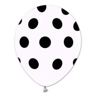 Балон бял на черни точки, диаметър 30 см, 5 бр. в пакет