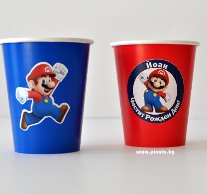 Персонализирана хартиена парти чашка 250 мл Супер Марио, 5бр. пакет