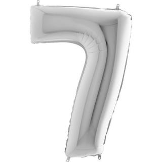 "Фолиен балон цифра 7 цвят сребро - 102 см височина /40""/"