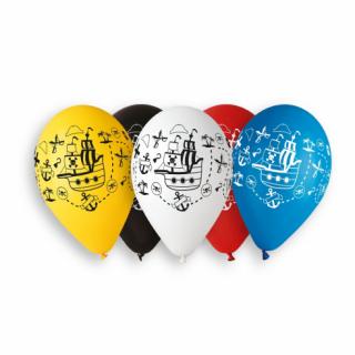 Комплект 5 бр. премиум балони с печат Пиратски кораб, пирати, микс цветове Gemar /Gd/