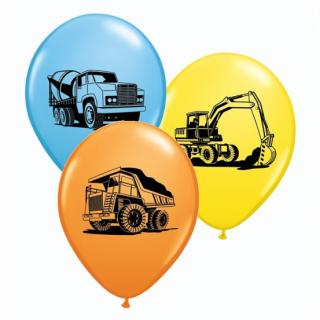 Комплект 5 бр. балони с печат Строителни машини, багер, бетоновоз, камион, микс цветове Qualatex /Gd/