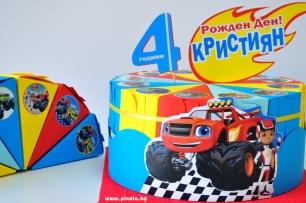 Хартиена торта с тематична декорация и персонализация Пламъчко / Блейз
