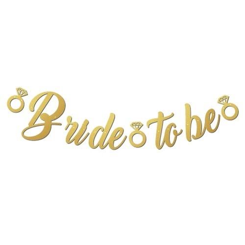 """Банер, надпис в Злато за Моминско Парти """"Bride To Be"""", размери 35х170 см"""