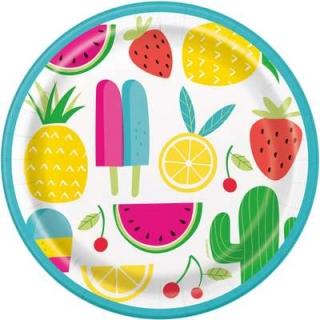 Хартиена парти чинийка Лятно парти плодове 18 см / Sweet & Succulent, 8 бр. в опаковка