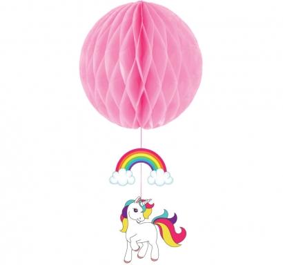 Висяща декорация Еднорог - розова декоративна топка тип пчелна пита