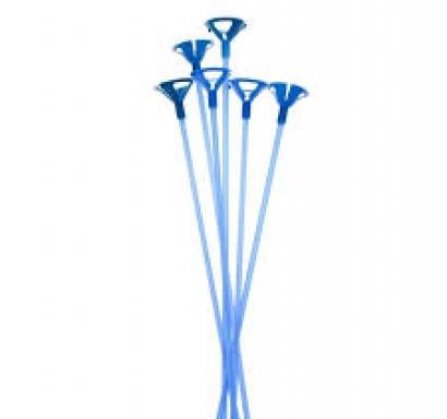 Пръчки с чашки /държачи/ за латексови балони - комплект 12 бр,  сини