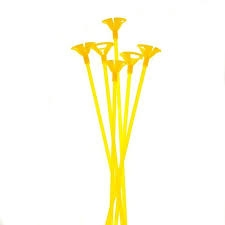 Пръчки с чашки /държачи/ за латексови балони - комплект 12 бр, жълти