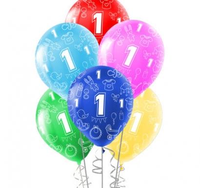 Комплект 10 бр. латексови балони с печат цифра 1, микс цветове