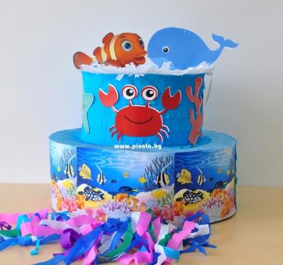Пинята торта Риби Морско дъно, височина 50 см
