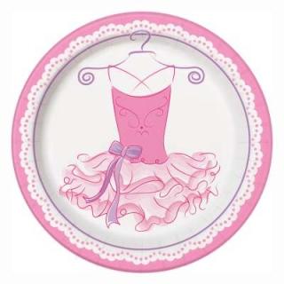 Хартиена парти чинийка Балерина 23 см / Pink Ballerina, 8 бр. в опаковка