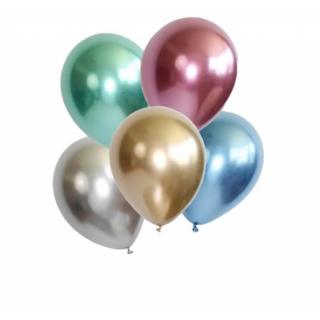 Балони металик хром диаметър 13 см, 10 бр в пакет микс цветове