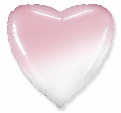 Фолиев балон Сърце, преливащи цветове - розов и бял, 46 см /Gd/