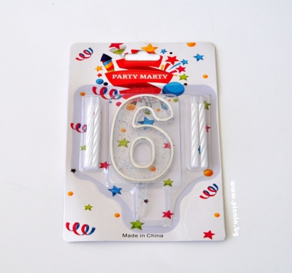 Свещичка за рожден ден - пвц цифра с брокат сребърна 0-9