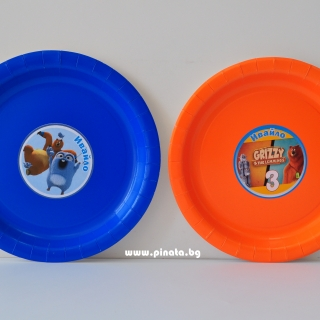 Персонализирана хартиена парти чинийка Гризли и Лемингите