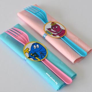 Парти комплект салфетка и вилица Барбарони, 5 бр. пакет