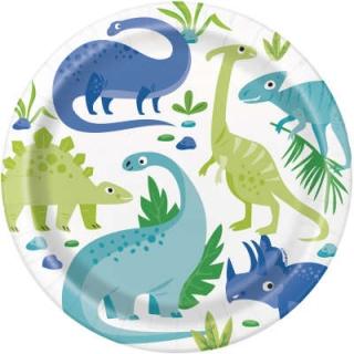 Хартиена парти чинийка Динозаври 23 см / Blue & Green Dinosaur, 8 бр. в опаковка