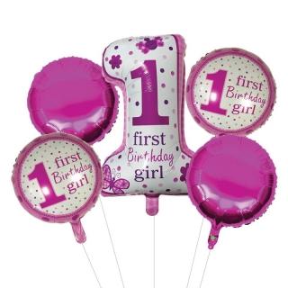 Комплект 5 бр. фолиеви балони Първи рожден ден Бебе Момиче / First Birthday Girl