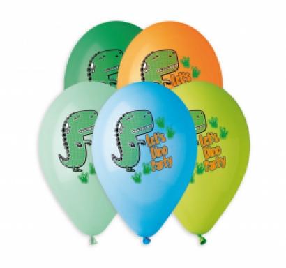Комплект 5 бр. балони с печат Дино парти, динозаври, микс цветове Gemar /Gd/