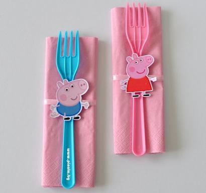 Парти комплект салфетка и вилица Пепа Пиг, 5 бр. пакет