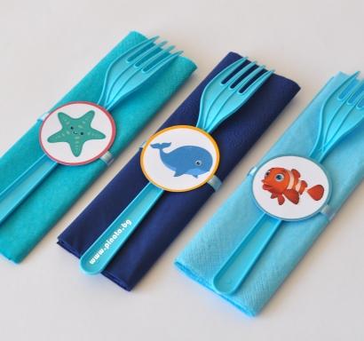 Парти комплект салфетка и вилица Морско дъно