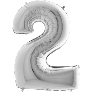 "Фолиен балон цифра 2 цвят сребро - 102 см височина /40""/"