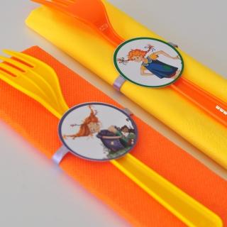Парти комплект салфетка и вилица Пипи Дългото Чорапче, 5 бр. пакет