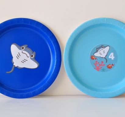 Персонализирана хартиена парти чинийка Морско дъно Скат