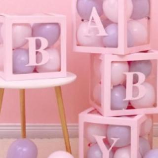 Комплект 4бр. декоративни прозрачни кутии за балони - Love, Baby, Boy, Girl ...цвят розов