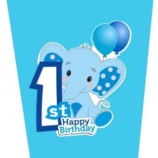 Хартиена парти чашка 250 мл Слонче Първи рожден ден момче цвят син / First Birthday Elephant, 8 бр. в опаковка