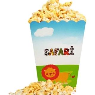 Кутийки за пуканки или сладки, Джунгла, Сафари, Лъв, Жираф, Зебра и Слон - 8 бр. в пакет