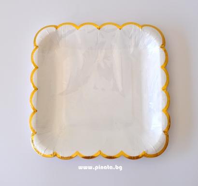 Хартиена парти чинийка бяла със златен кант, 23х23см 10 бр. в опаковка