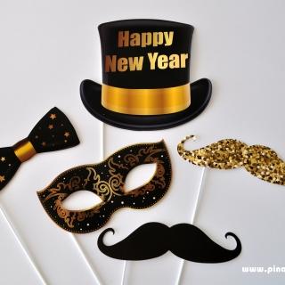 Пропсове за забавни снимки Честита Нова Година / Happy New Year, 5 бр комплект